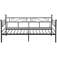 Aingoo sofá Cama Armadura de Cama con tablillas Cama de día Cama de Invitados 90 x 200 CM (Negro) - Muebles de Dormitorio precios