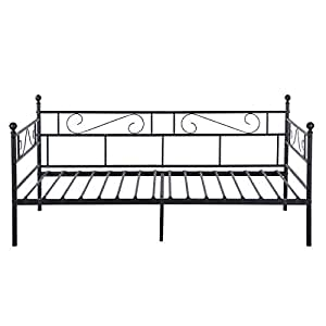 Aingoo Full Metal Single Day Bed Frame Guest Sofa Bed Daybeds for Living Room Black