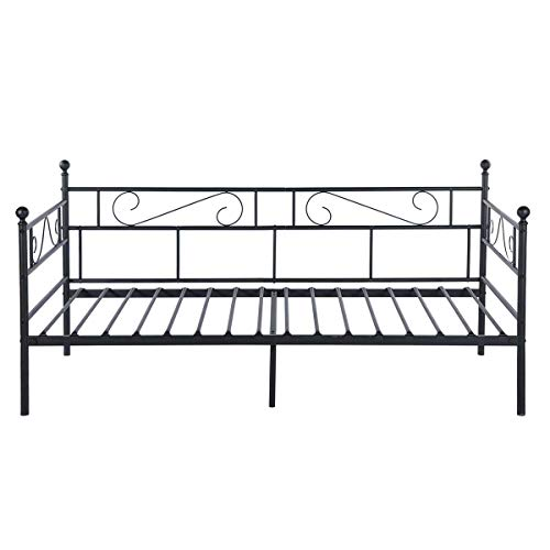 Aingoo Cadre de lit Unique Canapé-Lit en Fer forgé en Noir