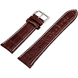18mm 2015 NEW Quality Unisex Genuine Leather Brown Watch Strap Band Womens Mens