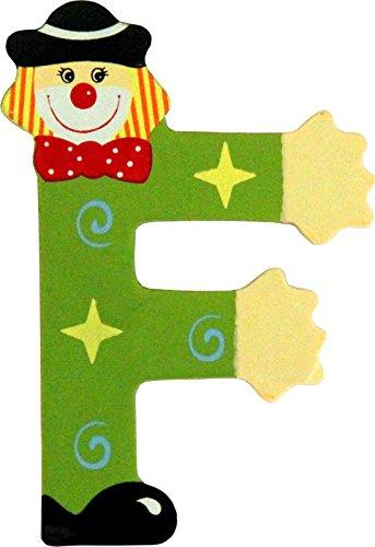 Holzbuchstaben und Zahlen- Clowns - mit Klebepad in zufälliger Farbe - Rimini Baustoffe® - Ideal für Türen und Schränke (Buchstabe F)