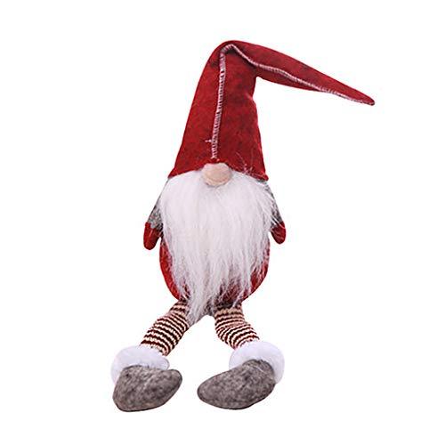Lamdoo, 1 bambola giocattolo di babbo natale, giocattolo con gamba lunga e gnomo seduto, decorazione per la scrivania, panno, red, 50x11cm