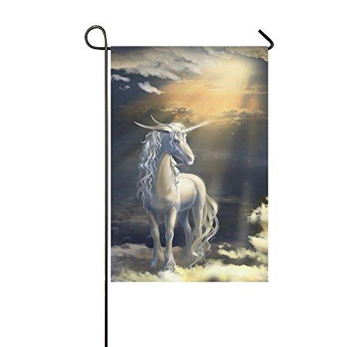 interestprint Einhorn Pferd Tier Polyester Garten Flagge Haus Banner 30,5x 45,7cm, Sonnenlicht gefiltertes durch Wolken Fahne Deko für Party Yard Home Outdoor Decor, Polyester, multi, 12x18