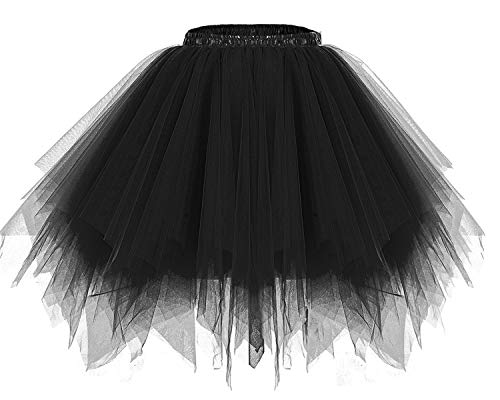 bridesmay Tutu Damenrock Tüllrock 50er Kurz Ballet Tanzkleid Unterkleid Cosplay Crinoline Petticoat für Rockabilly Kleid Black (Frauen Sport Kostüm Halloween)