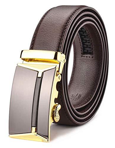Xhtang-Ledergürtel Herren Automatik Gürtel mit Automatikschließe-3,5cm Breite L - Braun - Länge 140cm (Geeignet für 44-49 taille) - Die Gürtel Taille Für