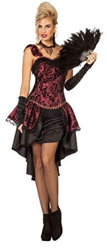 Karneval-Klamotten Burlesque Kostüm Damen Luxus Korsett Cabaret Tänzerin Can-Can Girl Damen-Kostüm Größe 44 (Kostüm Tänzerin Halloween Burlesque)
