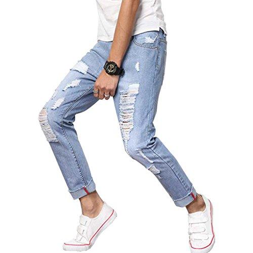 Minzhi pantaloni a vita bassa da uomo, pantaloni chiari, pantaloni casual, pantaloni slim taglia large,original fit, jeans uomo