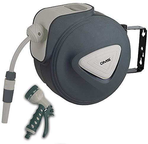 DMS Schlauchaufroller Gartenschlauchtrommel Wasserschlauchaufroller Schlauchtrommel Automatik inkl. Bewässerungsbrause Aufroller Garten Schlauch Wasserschlauch GST (20 Meter, Grau)