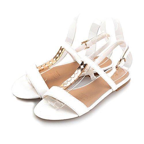 Estate scarpe di pelle di serpente/TPuntali in metallo a forma di farfalla/Sandali flat femminili D