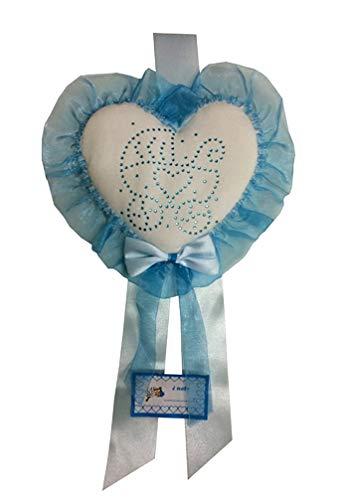 Fiocco nascita azzurro coccarda cuore med