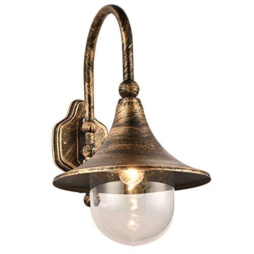 Yanhuoo Einzelne Lampe Außenwand Laterne Designer wasserdichte Wandleuchte, Retro Outdoor Wand hängen Wandleuchte, transparente Seed Glas Lampenschirm (Color : Bronze) -