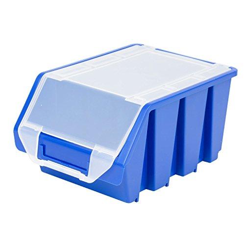 Stapelbox Stapelkiste Sortierbox Ergobox mit Deckel Gr. 3 blauLager