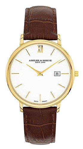 Abeler & Söhne–Made in Germany–Orologio da uomo con cinturino in pelle, Vetro Zaffiro e Data as1323