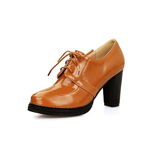 VogueZone009 Femme Lacet Rond à Talon Haut Pu Cuir Couleur Unie Chaussures Légeres Brun