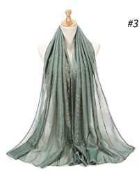 HITSAN INCORPORATION Women Striped Cotton Scarf Shiny Gold Silk Rhinestones  Shawl Tudung Malaysia Arab Turkey Muslim Hijab Head… 20c8aea13bc