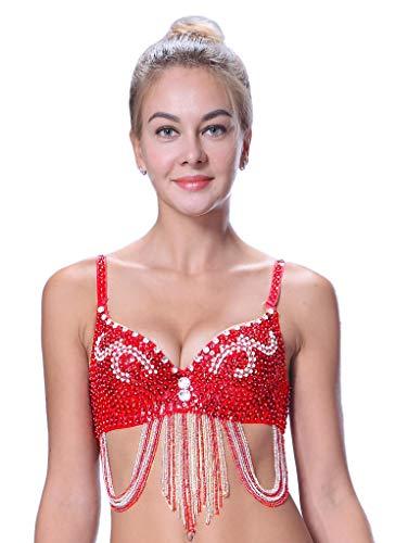 Dance Kostüm Damen - Bauchtänzer BH Bauchtanz Oberteile Kostüm Damen Belly Dance Top Rot 70B 75A 75B