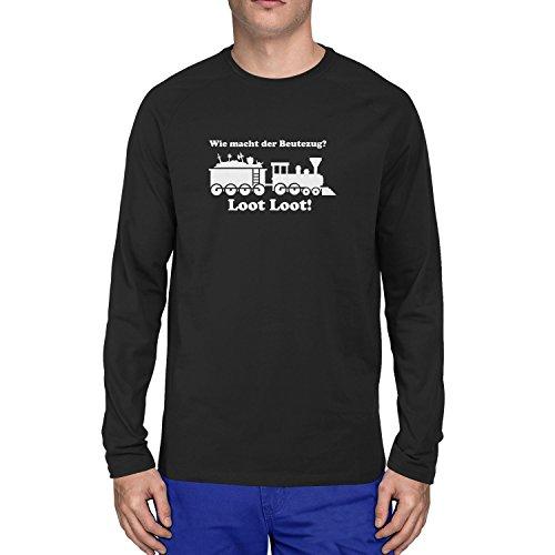 Assassin Kostüm Dark - Planet Nerd Beutezug - Herren Langarm T-Shirt, Größe M, schwarz