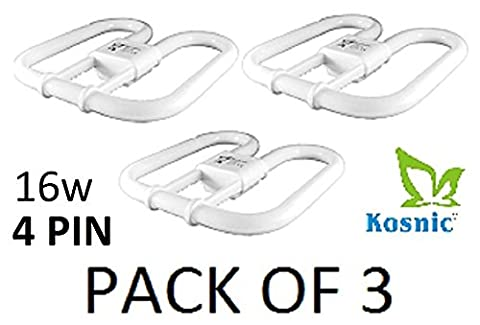 Kosnic 16w DD Butterfly EXUN CFL Lamp - PACK OF 3 UNITS - GR10q / 4-Pin, Warm White 3500K, 12,000 Hour Life, 1050 Lumens / Compact Fluorescent Light