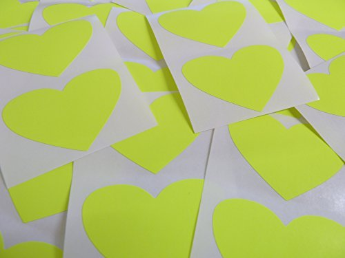 50x37mm Fluorescente Amarillo Brillante Con Forma De Corazón Etiquetas, 40 auta-Adhesivo Código De Color Adhesivos, adhesivo Corazones para Manualidades y Decoración