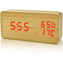 FiBiSonic Reloj Alarma Despertador Digital de Madera Silencioso LED Pantalla Brillo Ajustable Control de Sonido (BambúRojo)
