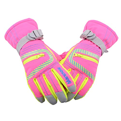 TRIWONDER Wasserdichte Ski Snowboard Handschuhe Thermische warme Winter Schnee Ski Handschuhe für Männer, Frauen und Kinder (Rose Rot, M (9-14 Jahre))