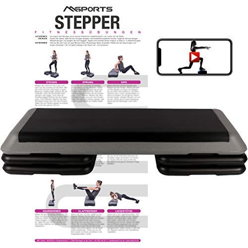 MSPORTS Steppbrett Professional inkl. Übungsposter + Work Out App GRATIS | 3 - Fach höhenverstellbar Studio Stepper