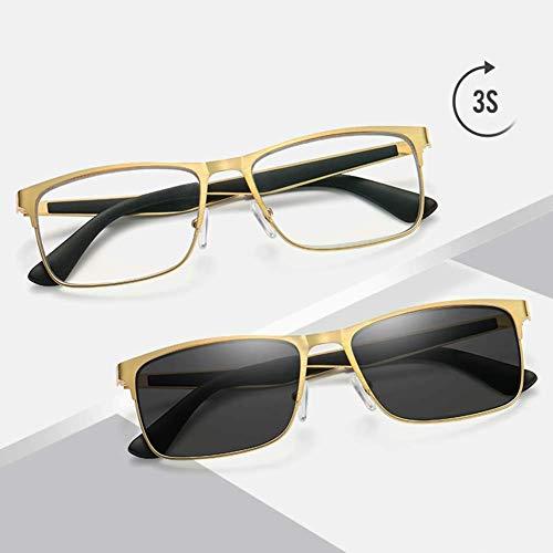 Sunglasseslife Lesebrille Sonnenbrille Optische presbyopische Brille Photochrome Intelligente Farbwechsellinse 100 bis 400 Grad Anti-Blue Light Anti-UV,+400 -