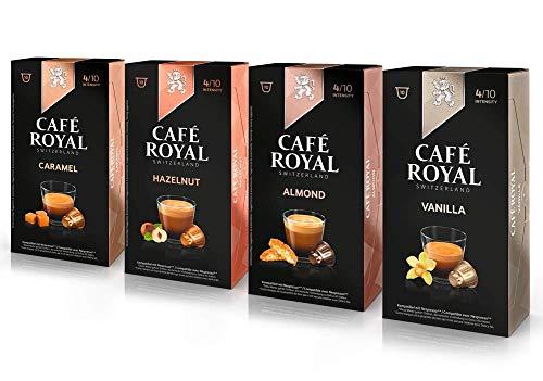 Café Royal Probierbox Flavoured - 40 Nespresso kompatible Kapseln, 4 Sorten - Vanilla, Caramel, Almond, Hazelnut (4 x 10 Kaffeekapseln)