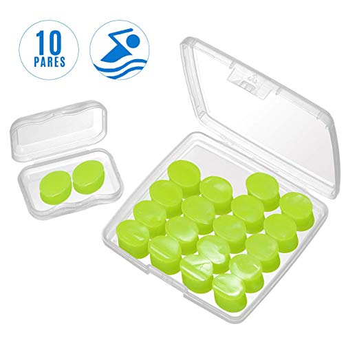 Mpow 109A Ohrstöpsel Schwimmen Erwachsene (10 Paar) mit Gratis Miniboxx, wasserdichte Knetbarem Silikon Ohrstöpsel für Schwimmer beim Duschen, Wassersportarten, 28dB SNR-Gehörschutzstöpsel - Grün