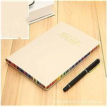 JxucTo Creativo Cuadernos de diarios y diarios de Rainbow Edge creativos Cuadernos de viajes de oficinas de Home School (color crema)