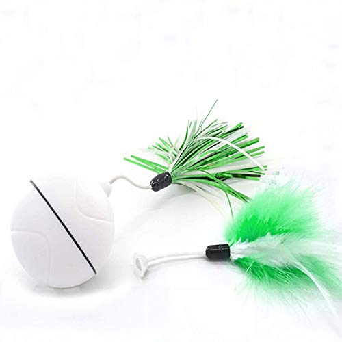 DINGG Cat Toys Automatic Rolling Ball Light USB Charged Light Pet Toy Interactive Entertainment Exercise Toy für Cats/Dogs/Pets,White