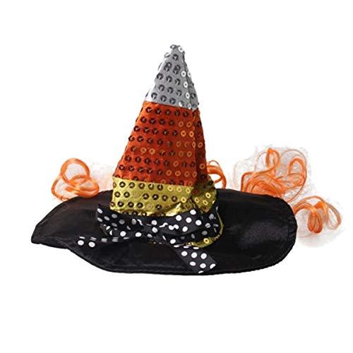 Amosfun Halloween Hexenhut Hund Top Hut Lustige Kappe für Haustier Katze Hund Party Cosplay Supplies Gr. 13x13x10 cm, Siehe Abbildung