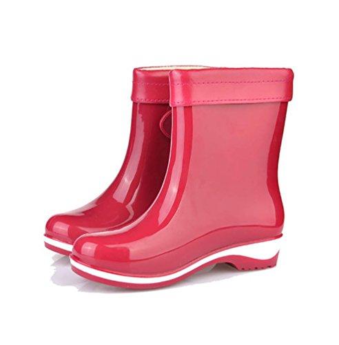 LvRao Frauen Lederstiefel Wasserdichte Gummistiefel Boots Regen Schnee Stiefeletten Schuhe Stiefel Damenstiefel Rot