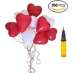 Luftballons Herzluftballons Hochzeit, 100 Herzballons Herz Ballons ROT WEIßE Mit Pumpe Herzen Ballons Dekorationen Für Party Hochzeit Valentinstag (100 PCS, ROT WEIßE)