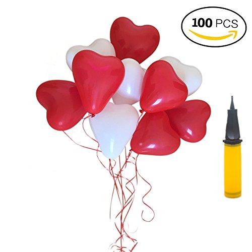 Preisvergleich Produktbild Luftballons Herzluftballons Hochzeit, 100 Herzballons Herz Ballons ROT WEIßE Mit Pumpe Herzen Ballons Dekorationen Für Party Hochzeit Valentinstag (100 PCS, ROT WEIßE)