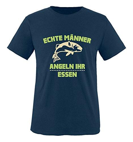 Comedy Shirts - Echte Männer angeln ihr Essen. - Jungen T-Shirt - Navy / Beige-Hellgrün Gr. 152/164