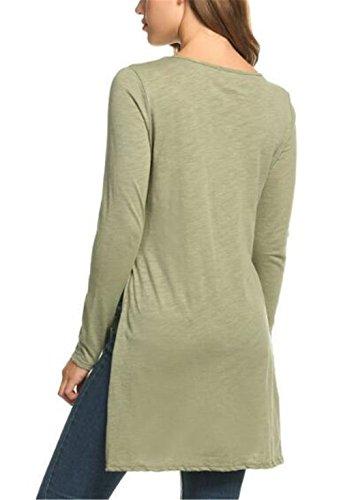 BESTHOO Donna T Shirt Vintage Manica Lunga Eleganti Lunga Basic Primavera Orlo Irregolare Rotondo Collo Blusa Camicia Tunica Casual Green
