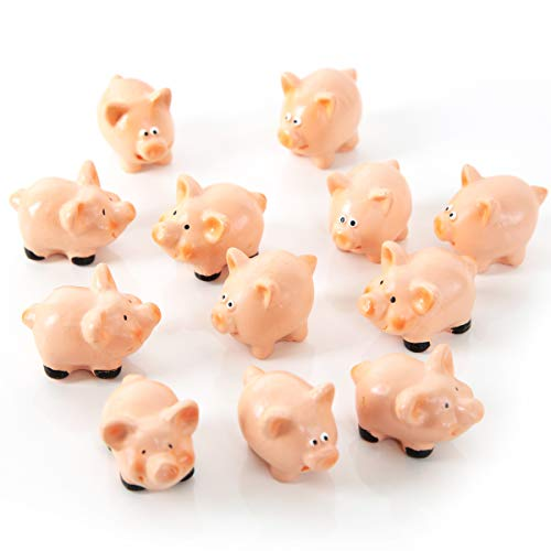 12 Stück kleine Glücksschweinchen rosa rot rose 4,5 cm Glücksbringer Mini-Schweine Silvester Neujahr Glücksschwein Symbol Geschenk give-away Deko Mitgebsel (Miniatur-kunststoff-schwein)