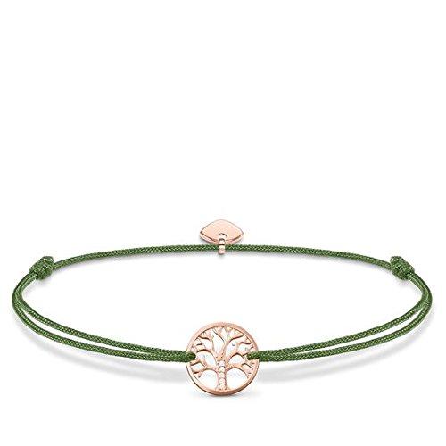 Thomas Sabo Damen-Armband Little Secret Tree of Love 925 Sterling Silber rosé vergoldet Grün LS036-898-6-L20v