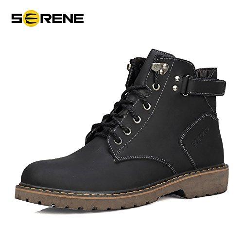 SERENE Männer Mode Low Cut Arbeitsstiefel Cool Sommer Stiefel mit Schnürsenkel Klettverschluss - Schwarz, Kaffee, Braun, Gelb Farbe Optionen Schwarz