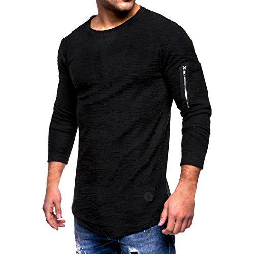Feixiang® t-shirt a maniche lunghe da uomo, slim fit, maglia con cerniera a maniche lunghe maglietta girocollo tinta unita da uomo camicie da uomini camicia uomo felpe hoodie uomo