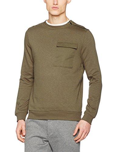 New Look Herren Sweatshirt Zip Shoulder Sweat Brown (Mid Brown)