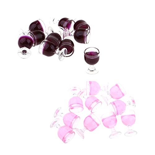 CUTICATE 20er-Set 1/12 Puppenhaus Miniatur Weingläser Champagner Tassen Becher Sektgläser für Puppenstube Zubehör