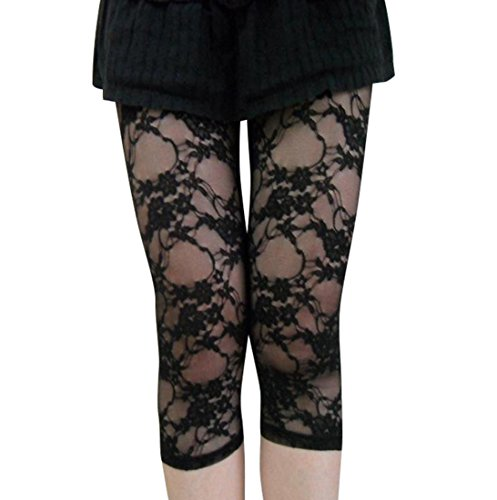 Women's Capri Lace Legging Black One Size - Ideal for Madonna 80s Fancy Dress