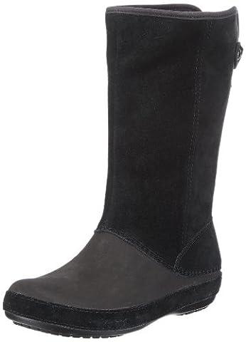 Crocs Berryessa Tall Suede Boot, Damen Warm gefüttert Classics Langschaft Stiefel & Stiefeletten, Schwarz (Black/Black 060), 36/37