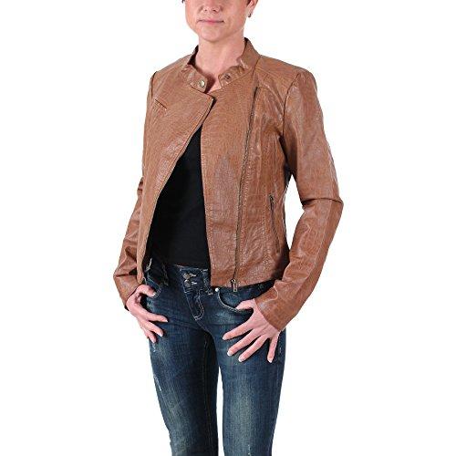 Vero Moda Damen Lederjacke, Damenjacke - Reptile Short PU Jacket 16 caramel café, Größe:XS