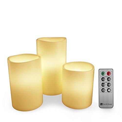 Lavish Home Flammenlose Kerze mit Fernbedienung, quadratisch, Farbwechsel, 3 Stück Rund gelb elfenbeinfarben (Tee Lichter Flammenlose Bulk)
