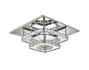 Modern Square 30cm LED Crystal Ceiling lights Chandeliers Bilayer Aisle Light from Jorunhe Liu