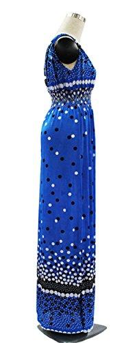 JOTHIN 2017 été Nouvelle Femmes Imprimé Robe Vent National Bohême V-Cou Taille Haute Sans Manches Taille Grands Mince des Robe de Longue Section Bleu
