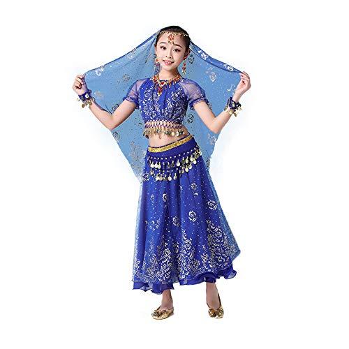 JIE. Kindertag Indian Dance Kostüme Mädchen Mädchen Xinjiang ethnischen Bauchtanz Performance Kostüme,Blue,M